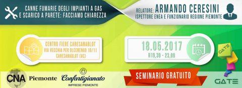 Canne fumarie degli impianti a gas e scarico a parete: facciamo chiarezza. Seminario tecnico a Vercelli Fiere, 18 maggio 2017