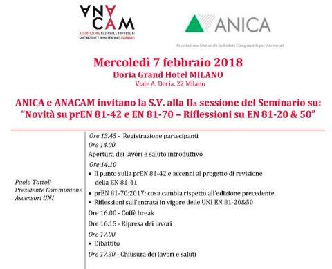 """Ascensori. Seminario tecnico """"Novità su prEN 81-42 e EN 81-70 – Riflessioni su EN 81-20 & 50"""", Milano, 7 febbraio 2018"""