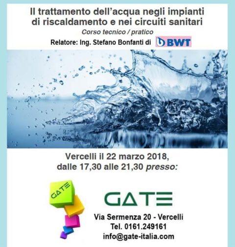 Il trattamento dell'acqua negli impianti di riscaldamento e nei circuiti sanitari. Vercelli, 22 marzo 2018