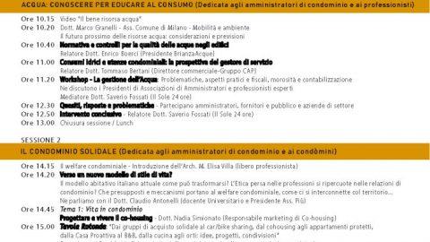 Acqua e Condominio solidale. Convegno a Milano, 18 aprile 2018