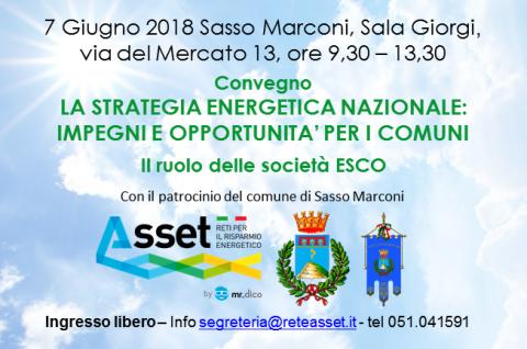 La Strategia Energetica Nazionale e i Comuni. Convegno a Sasso Marconi, 7 giugno 2018