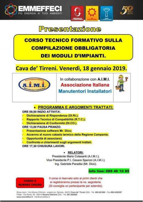 Corso sulla compilazione obbligatoria dei moduli d'impianti, Salerno, 18 gennaio 2019