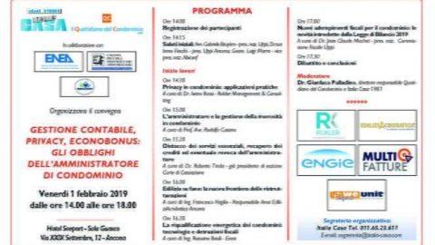Gestione contabile, privacy, ecobonus: gli obblighi degli amministratori di condominio, Ancona, 1 febbraio 2019