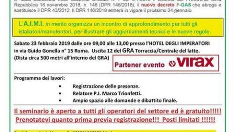 Seminario informativo sulle nuove regole FGas (DPR 146/2018), Roma, 23 febbraio 2019
