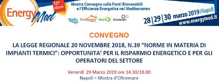 Convegno Impianti termici Energy Med Napoli 29 marzo 2019