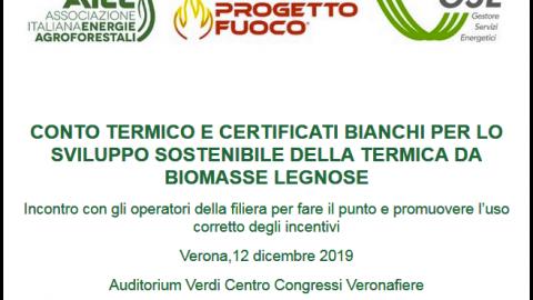 """Convegno """" Conto termico e certificati bianchi """", Verona, 12 dicembre 2019"""