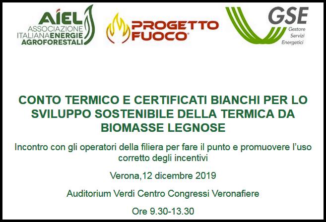 Conto termico e certificati bianchi, Verona 12dicembre 2019