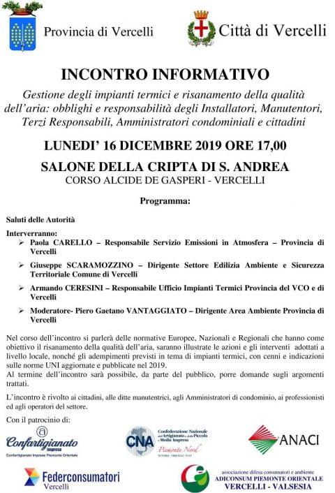 Gestione degli impianti termici e risanamento della qualità dell'aria, Vercelli, 16 dicembre 2019